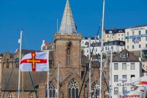 Saint Peter Port - Church Clock Tower - Guernsey Flag